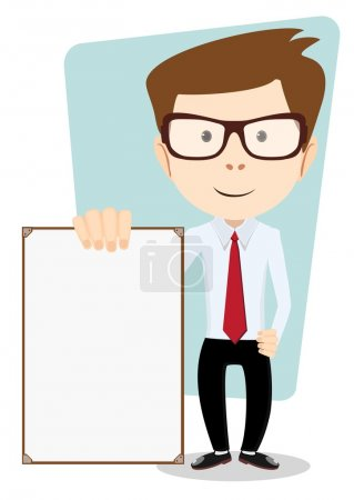 Cartoon Business man explaining and pointing at blank white board, placard.. Stock Vector  Illustration