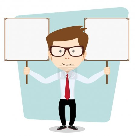 Cartoon teacher explaining and pointing at blank white board, placard.. Stock Vector  Illustration