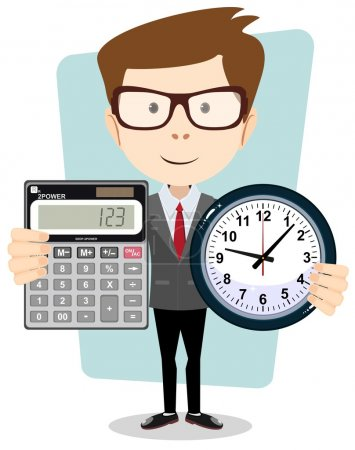 cartoon businessman with a big calculator and clock in his hands.