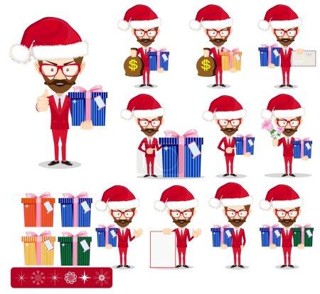 Santa Man with Gifts, Vector set