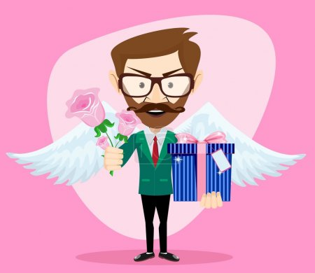 Young Handsome Man with Wings, Flowers and Gifts, Vector Illustration