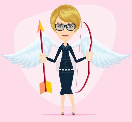 Illustration pour Belle fille en costume de Cupidon avec des ailes, arc et flèche. Illustration vectorielle de stock - image libre de droit
