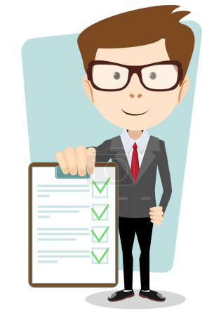 Manager holding the document approved, vector illustration
