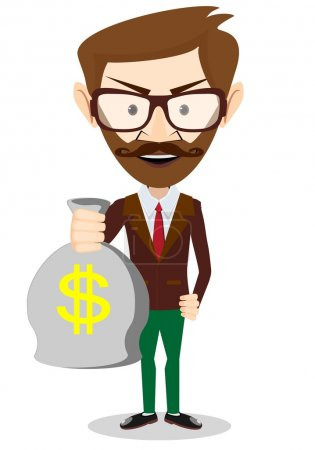 Young smiling businessman holding a bag of money, vector illustration