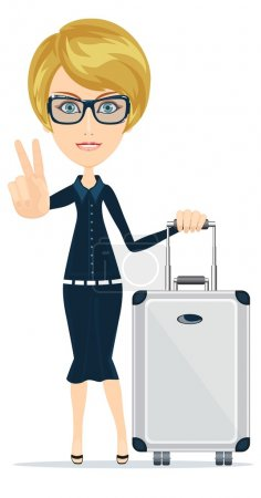 Illustration for Business woman with a lot of baggage, vector illustration - Royalty Free Image