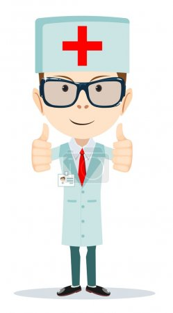 Cartoon doctor showing everything is OK, vector illustration
