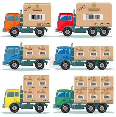Illustration pour Camion pour la livraison des produits sélectionnés de l'usine à l'entrepôt Image vectorielle de stock ensemble. Isolé sur fond blanc - image libre de droit