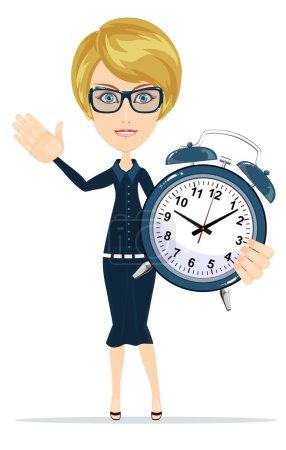 Cute pretty girl with an alarm clock, vector illustration