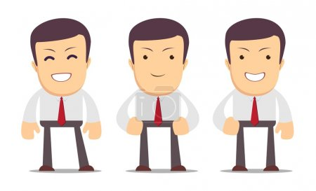Set of manager character in different interactive poses. Vector