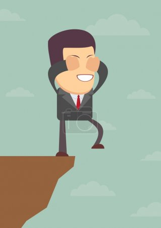 Illustration for Abstract Businessman walks off a cliff. Vector illustration of Retro styled Businessman walking off the cliffs or maybe its a leap of faith - Royalty Free Image