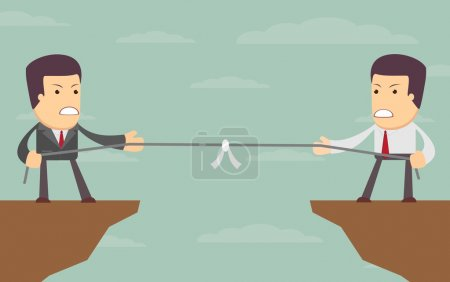 Illustration for Abstract Businessmen Tug of war on a cliff. Vector illustration of Retro styled Businessmen embroiled in a war of attrition on the top of the cliffs - Royalty Free Image