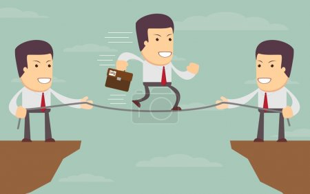 Illustration for Abstract Businessmen Pulling together on a cliff. Vector illustration of Retro styled Businessman helping and pulling together to assist their stranded colleague on the top of the cliffs - Royalty Free Image