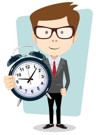 Illustration pour Young teacher holding a clock showing how much time is left, vector illustration - image libre de droit