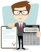 Accountant with a calculator vector illustration