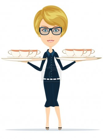 Happy Smiling Female Chief Cook Waiter