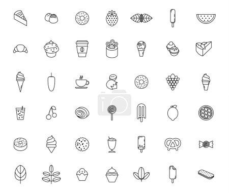 Illustration pour Ensemble d'icônes de nourriture et de douceur - image libre de droit