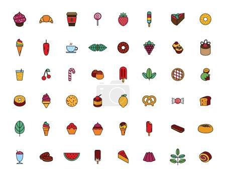 Illustration pour Ensemble de couleurs icône alimentaire - image libre de droit