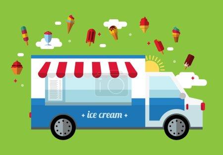 Illustration pour Icône de voiture de crème glacée, design plat - image libre de droit