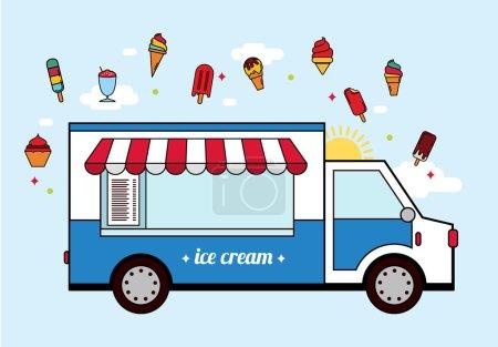 Illustration pour Icône de voiture de crème glacée bleue . - image libre de droit