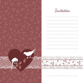 Invitation wedding card color marsala in a classic style with two doves on the background of hearts and floral pattern