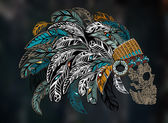 Skull in Indian headdress with feathers - vector