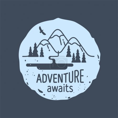 Mountain. Adventure awaits. Element for greeting cards, websites, posters and t-shirts printing. Vector illustration.