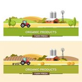 Organic products Agriculture and Farming Agribusiness Rural landscape Design elements for info graphic websites and print media Vector illustration