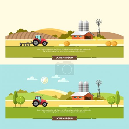 Illustration for Agriculture and Farming. Agribusiness. Rural landscape. Design elements for info graphic, websites and print media. Vector illustration. - Royalty Free Image