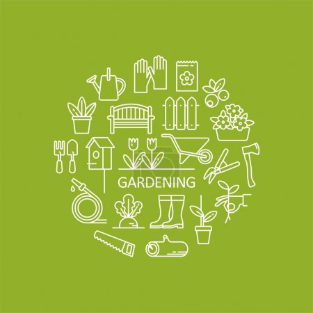 Gardening, tools, flowers icons. Garden objects for info graphics, websites and print media. Vector line icons.