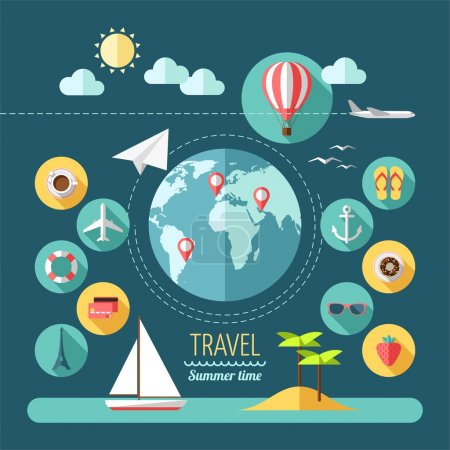 Illustration for Flat design style modern vector illustration icons set of planning a summer vacation, travelling on holiday journey, tourism and travel objects. - Royalty Free Image