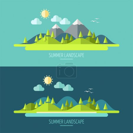Illustration for Flat design nature landscape illustration with sun, hills and clouds - Royalty Free Image