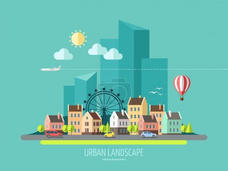 Photo for Flat design urban landscape - vector illustration. - Royalty Free Image