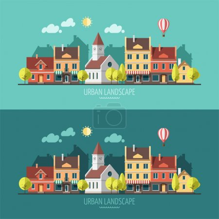 Illustration for Summer - flat design urban landscape - vector illustration. - Royalty Free Image