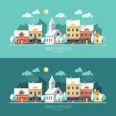 Zima - plochý design městská krajina