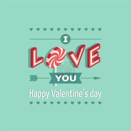 Illustration pour Amour, je t'aime, Saint Valentin carte - illustration vectorielle. - image libre de droit