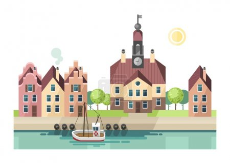 City, town, embankment - urban landscape in flat design style.