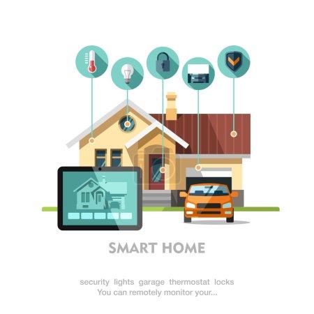 Illustration pour Plat style vector illustration concept de système technologie maison intelligente avec contrôle centralisé. - image libre de droit