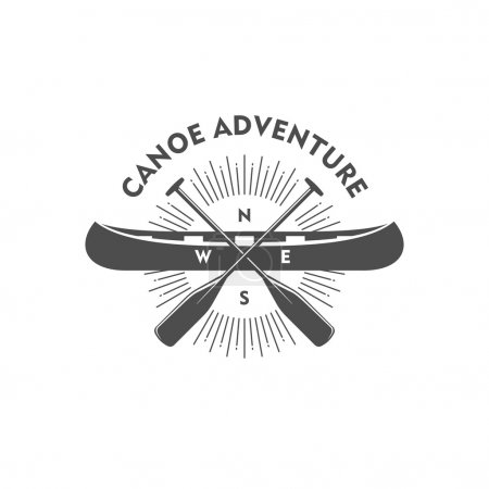 Canoe adventure. Badge, design element. Vector ill...