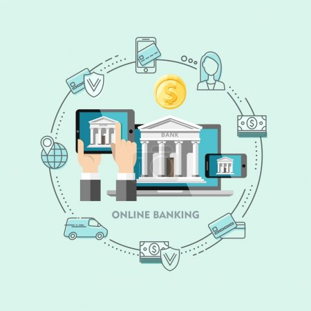 Flat design vector illustration concepts of internet banking.