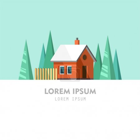 Illustration pour Maison de famille. Maison d'hiver. Illustration vectorielle plate . - image libre de droit