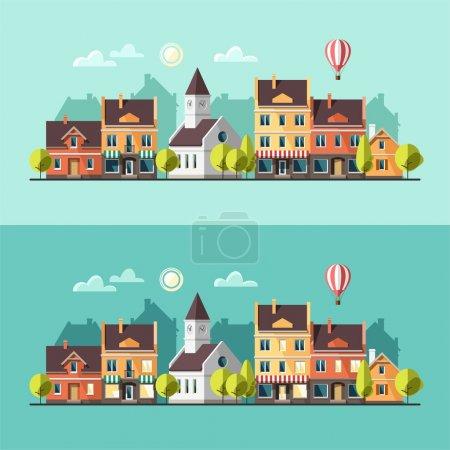 Illustration for Urban landscape. Cityscape. Vector illustration, flat style. - Royalty Free Image