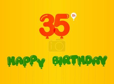 35 year birthday celebration flat color,  anniversary decorative flat modern style - vector illustration