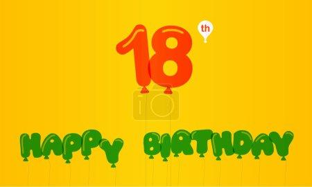 18 year birthday celebration flat color,  anniversary decorative flat modern style - vector illustration
