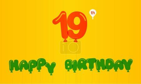 19 year birthday celebration flat color,  anniversary decorative flat modern style - vector illustration