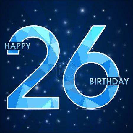 26 year birthday celebration label, 26th anniversary decorative polygon emblem - vector illustration