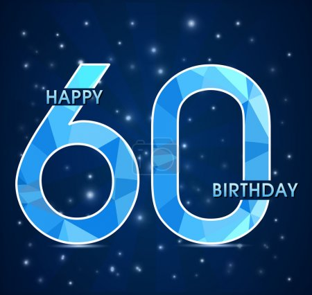 60 Year birthday, 60th anniversary polygon emblem