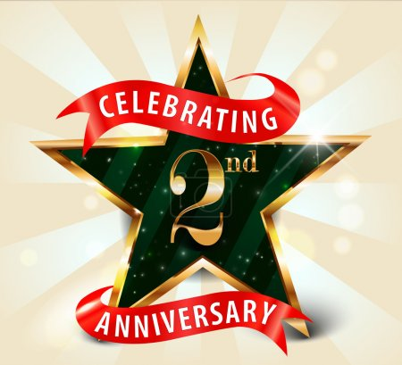 2 Year anniversary celebration golden star ribbon, celebrating 2nd anniversary decorative golden invitation card - vector eps10