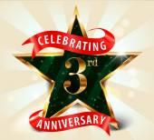 """Постер, картина, фотообои """"3 год годовщины празднования Золотой звезды ленты, отмечает 3-летие декоративные Золотой пригласительный билет - вектор eps10"""""""