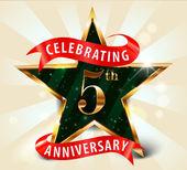5 Year anniversary celebration golden star ribbon celebrating 5th anniversary decorative golden invitation card - vector eps10