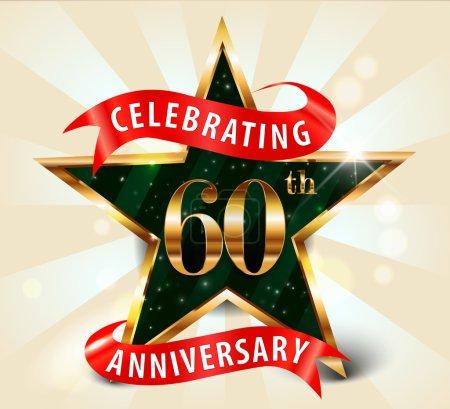60 Year anniversary celebration golden star ribbon, celebrating 60th anniversary